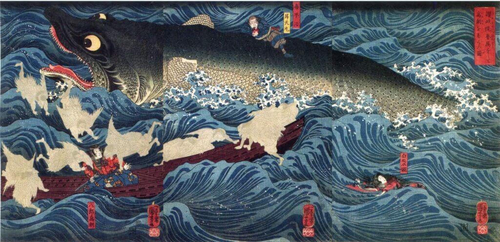 歌川国芳の錦絵『讃岐院眷属をして為朝をすくふ図』