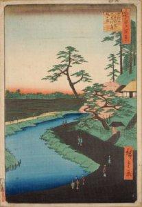 名所江戸百景「せき口上水端はせを庵椿やま」